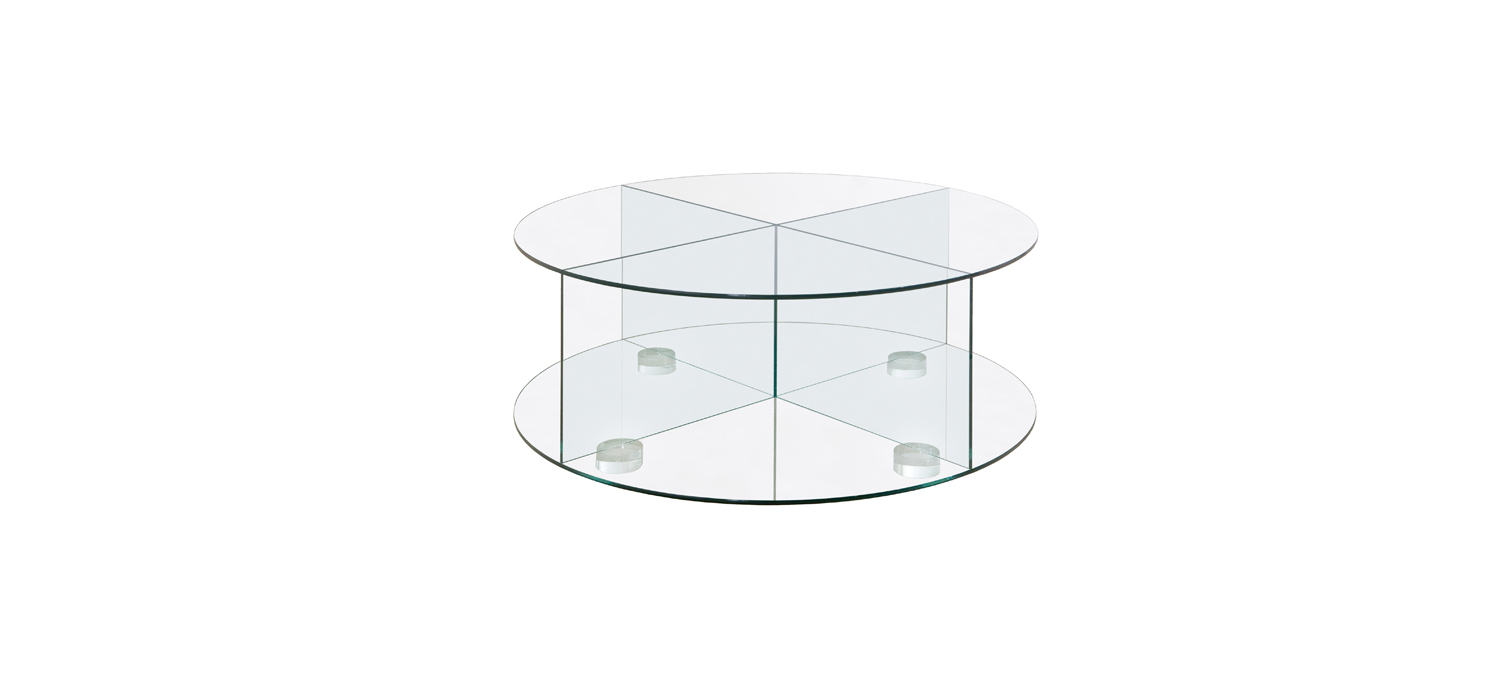 Cross Glass Round Coffee Table Double Rd 1136 Db Cruz Mesa Centro Cristal